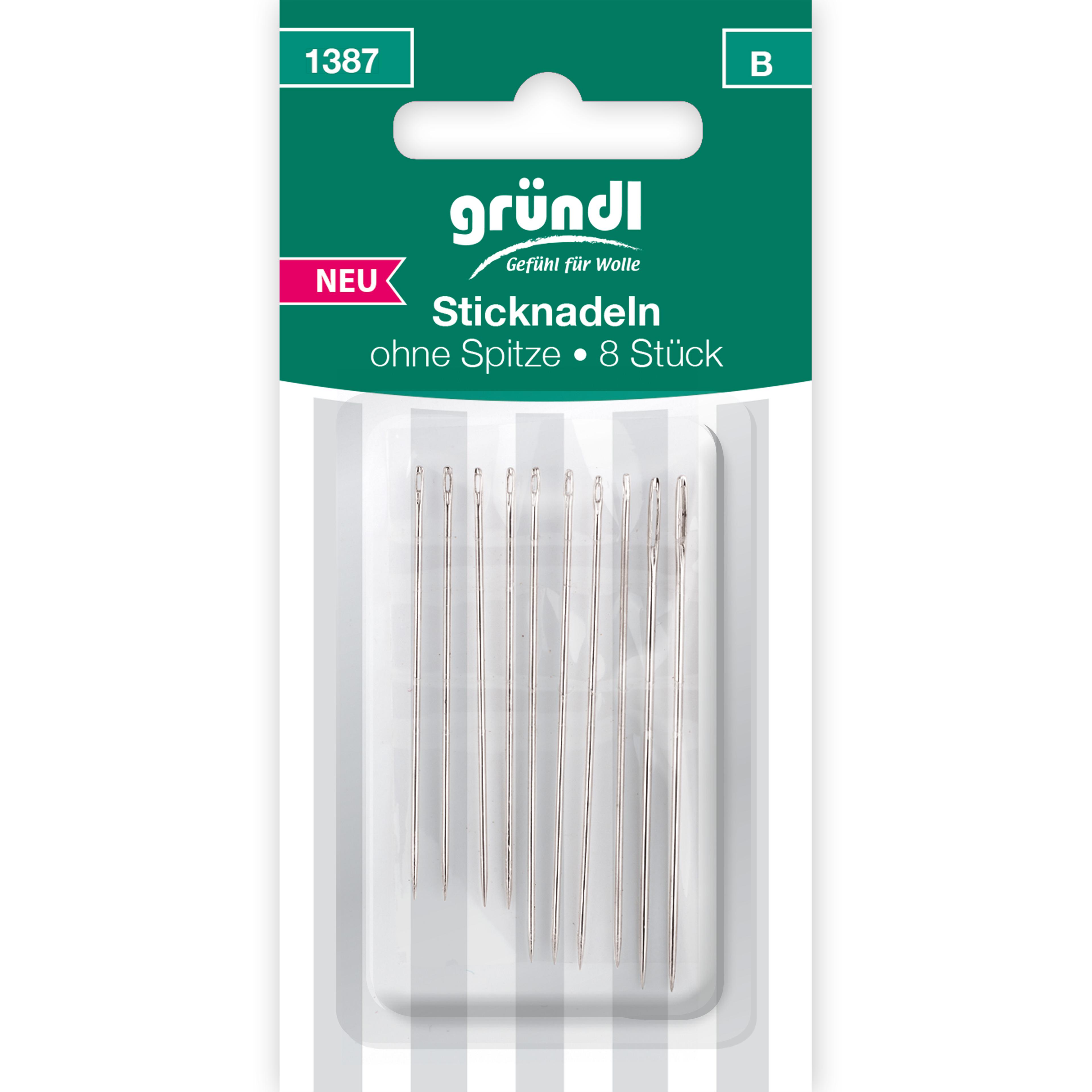 Sticknadeln ohne Spitze, 10 Nadeln, versch. Größen