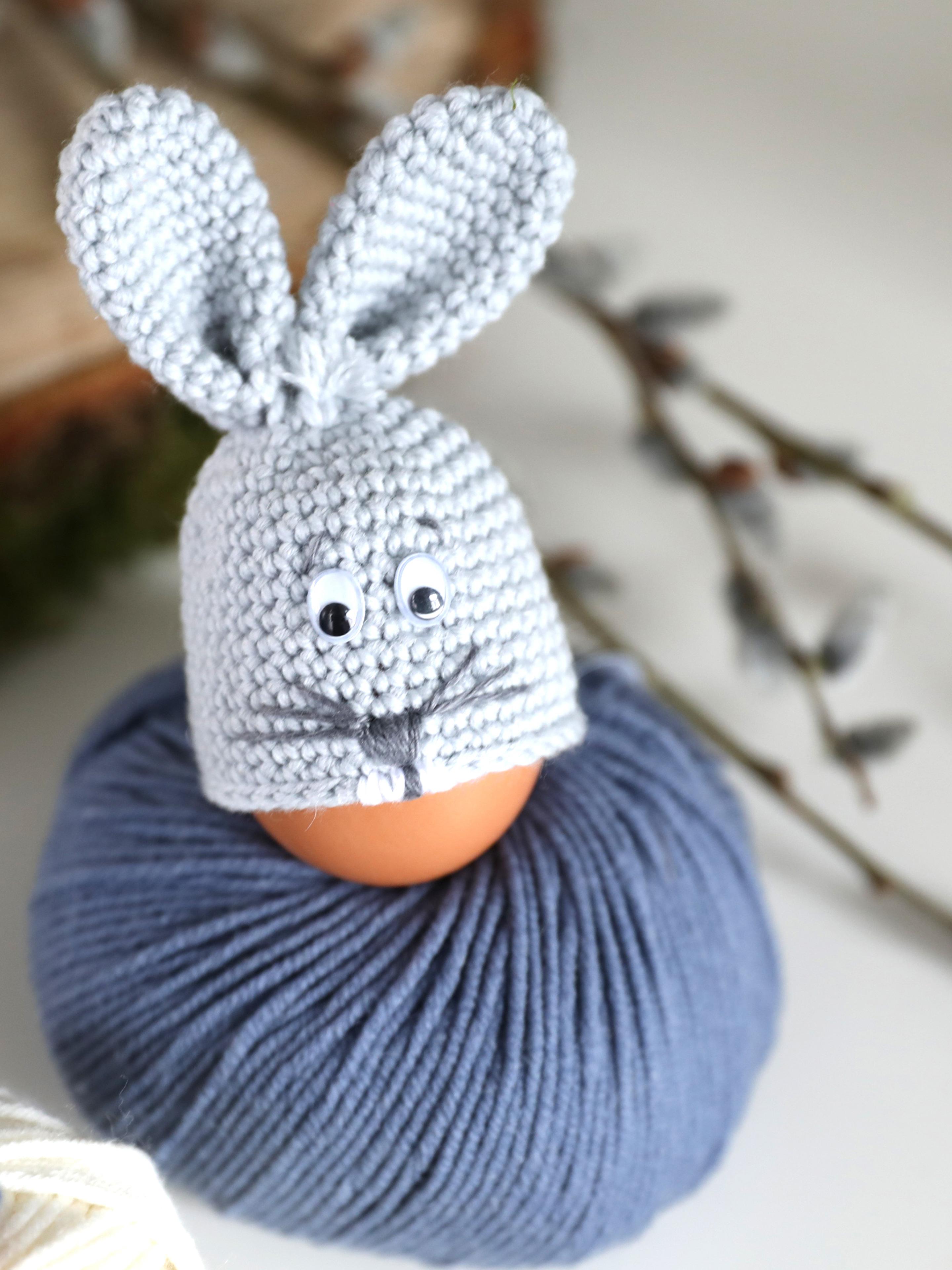 gehäkelte Ostereierwärmer Hase