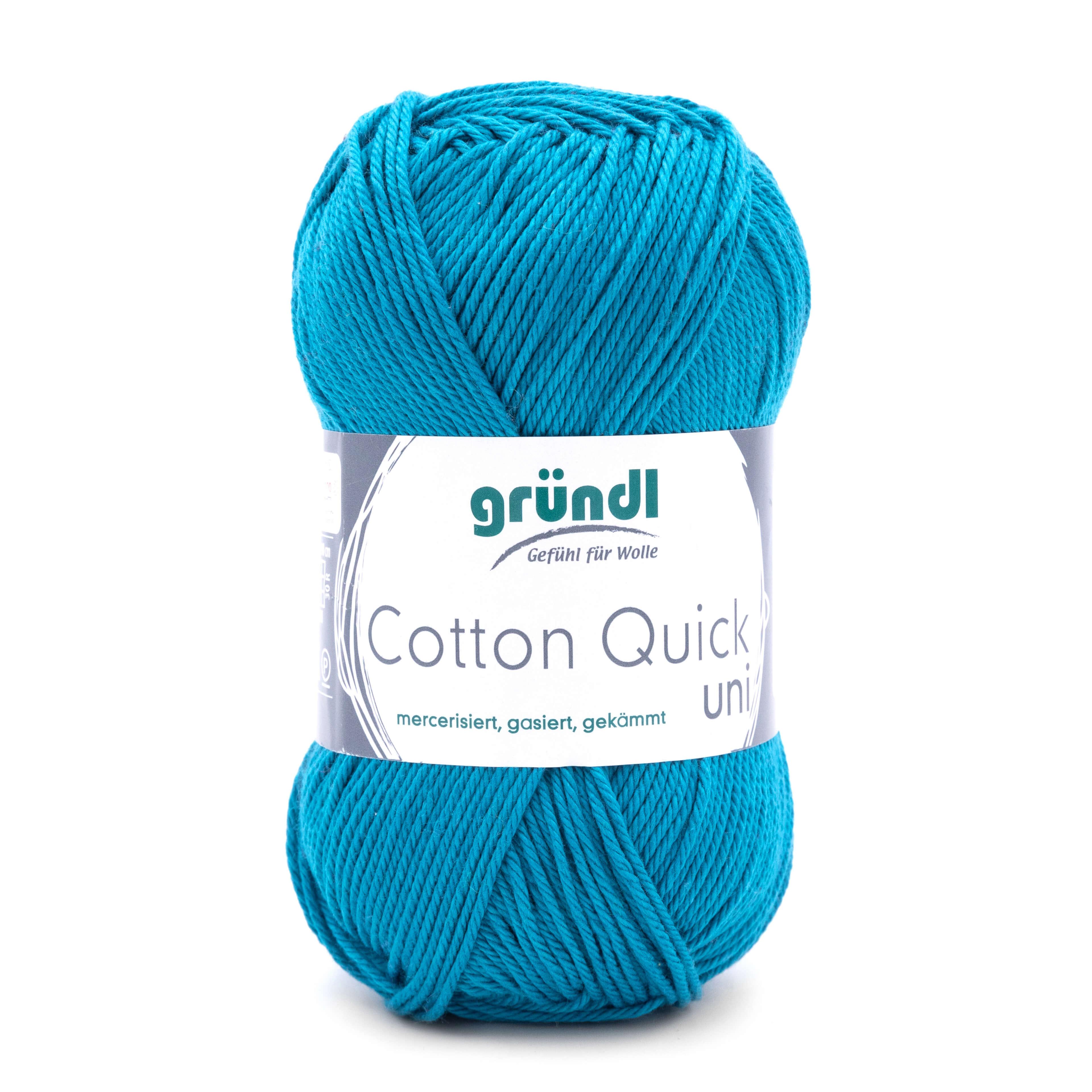 Gründl Cotton quick uni, Wolle zum Stricken aus 100% Baumwolle, mercerisiert, gasiert und gekämmt. Ideal für Amigurumi und Handarbeitsprojekte aller Art.