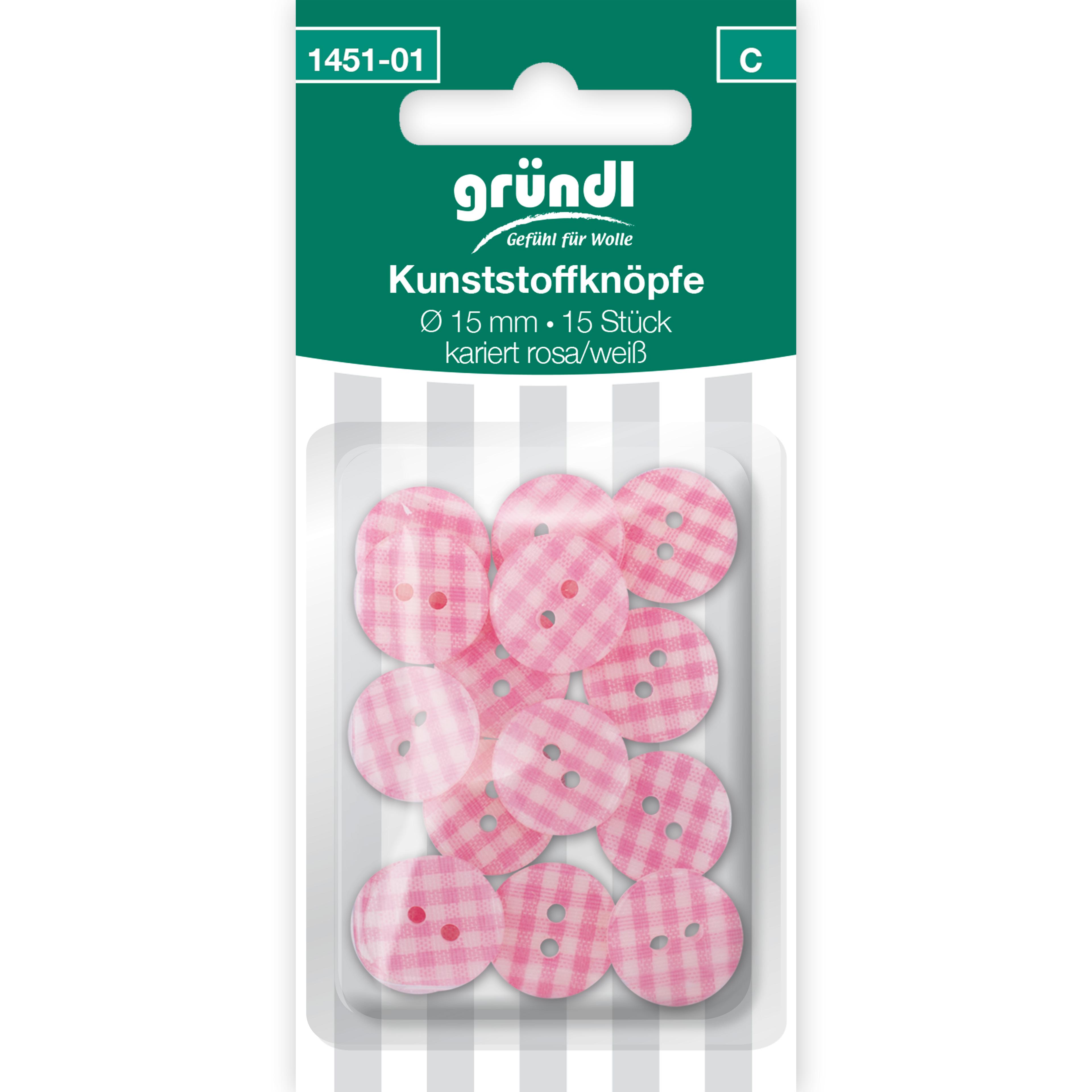 Kunststoffknöpfe, 15 Stück - rosa weiss kariert