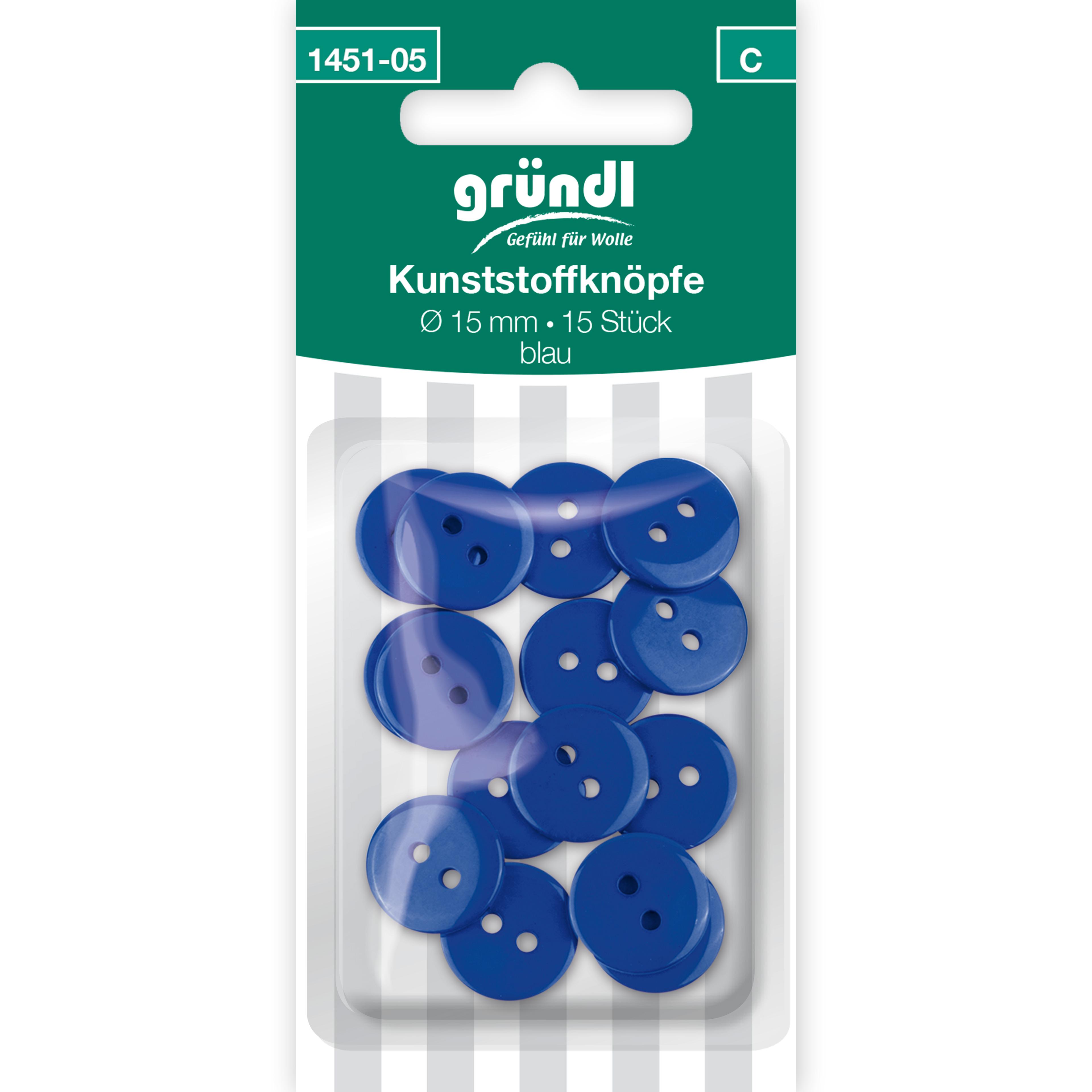 Kunststoffknöpfe, 15 Stück - blau