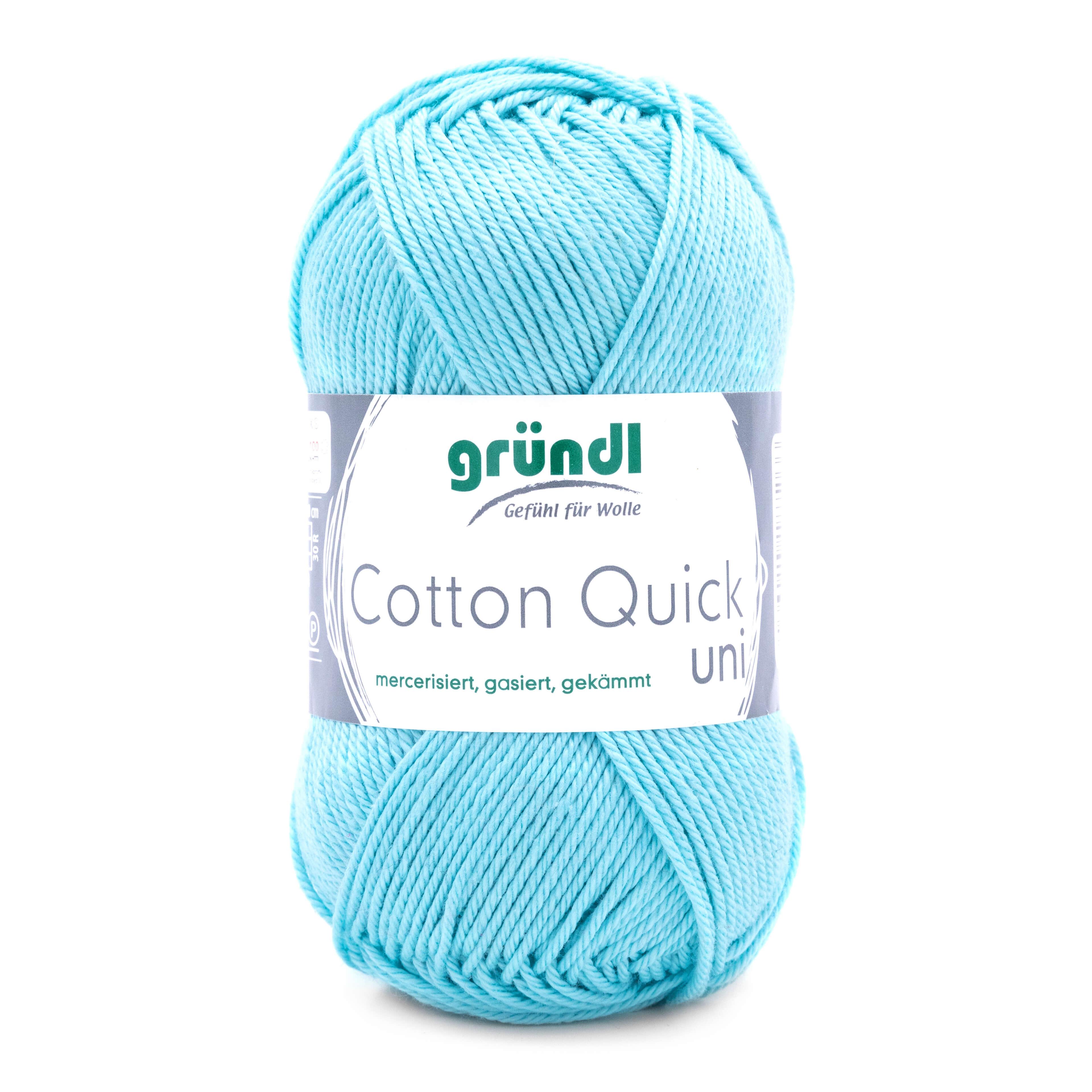 Gründl Cotton Quick uni in der Farbe babyblau. 100% Baumwolle, mercerisiert, gasiert und gekämmt, mit leichtem Glanz. Ideal für Handarbeitsprojekte, zum Basteln, für Amigurumi und Strickprojekte aller Art.